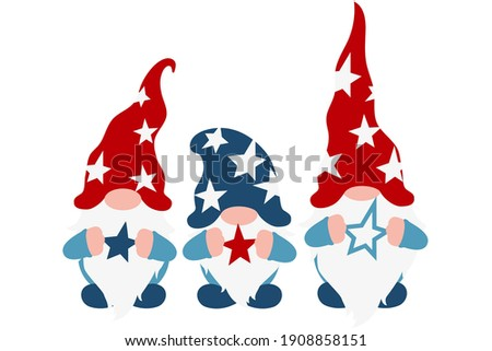 USA Patriotic Gnomes with stars in american flag colors, national freedom day, fourth of July holiday poster, memorial or independence day symbol, garden gnomes, isolated clipart, vector illustration Foto stock ©