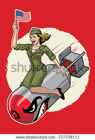 usa pin up  girl ride a nuclear