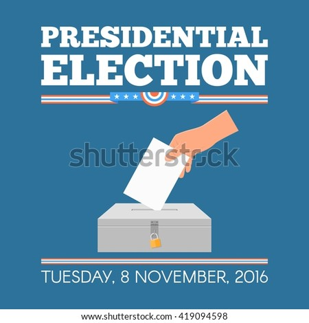 USA presidential election day concept vector illustration. Hand putting voting paper in the ballot box. Voting concept in flat style.