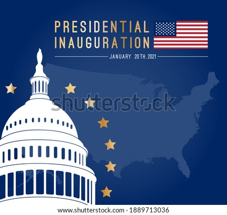 USA Presidential Inauguration Day on January 20th 2021 vector  square poster. Capitol Building Washington D.C. where the President takes the oath. American flag at country map background.