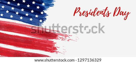 USA Presidents day background. Vector abstract grunge brushed flag with text. Template for horizontal banner. #1297136329