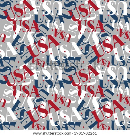 USA seamless pattern. National background. American texture. Patriotic ornament for America. United States America text pattern. Fabric texture, vector Stock photo ©