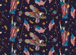 USA seamless pattern.  Statue of liberty, eagle, flag, map. American history and culture, patriotic  background. United States of America concept. Old school tattoo style