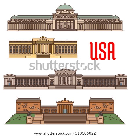 usa sightseeings vector icons