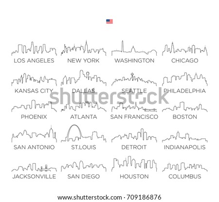 USA skyline city line art, vector Illustration design