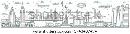 usa skyline line cityscape