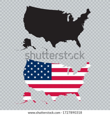 USA Solid Black Detailed Map Vector With American Flag Foto stock ©