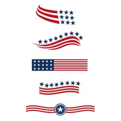 USA star flag logo stripes design elements vector icons