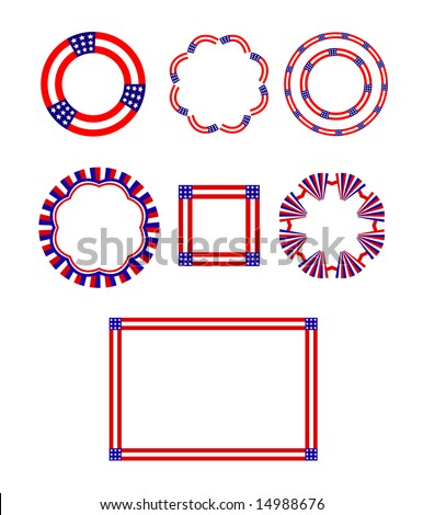 USA stars and stripes patriotic motifs include circular designs, and a square and rectangular frame.