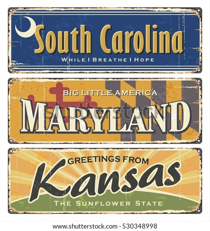 usa state.vintage tin sign...