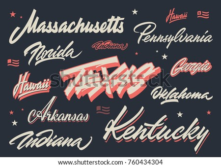 usa states lettering