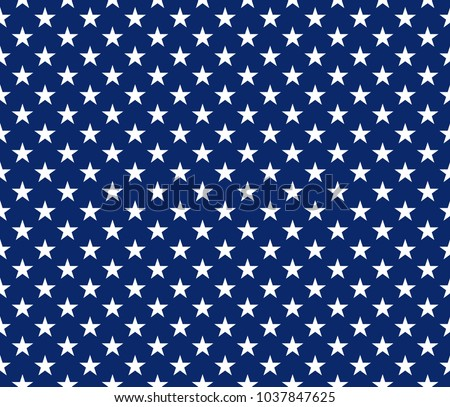USA style seamless pattern white stars on blue background. Vector illustration.