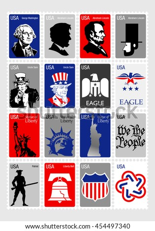 usa symbols   set icons framed