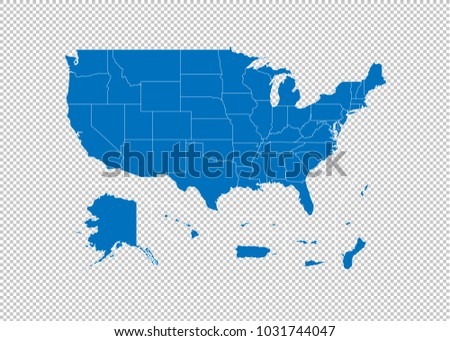 USA Territories map - High detailed blue map  with counties/regions/states of USA Territories. USA Territories map isolated on transparent background.