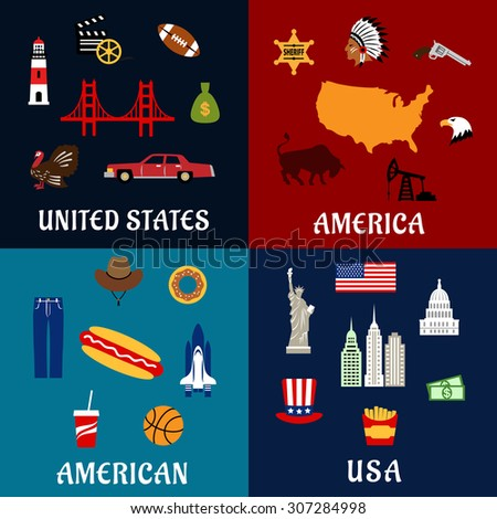 usa travel flat icons with map