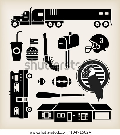 USA travel icons vector set