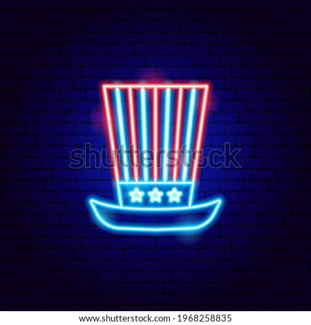 USA Uncle Sam Hat Neon Sign. Vector Illustration of American Promotion. Zdjęcia stock ©