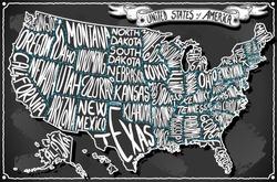 USA United States America Vintage chalk Map Old Vintage Blackboard. Retro Postcard Texas California Florida Virginia Alabama Georgia Oregon banner draw typography Vector Illustration