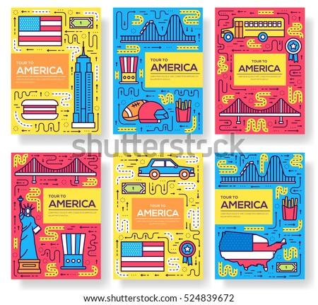 usa vector brochure cards thin