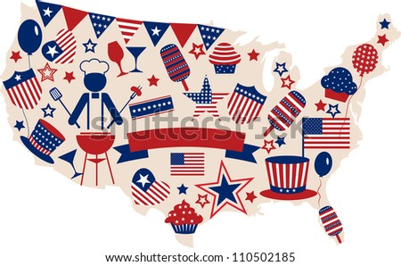 USA vector icons for american independence day , illustration