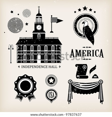 USA vector icons for independence day ( good for infographic and charts)