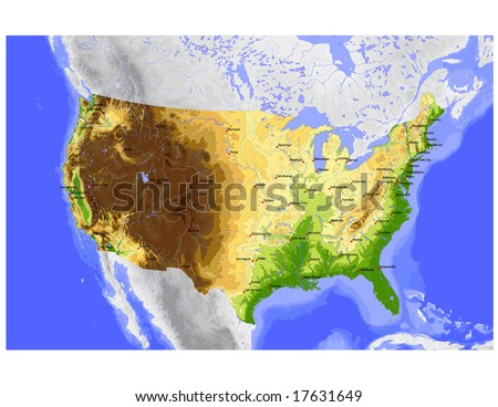 USA. Vector map of the conterminous USA, colored for elevation, with state capitals and cities greater 600,000. Surrounding territory greyed out. 36 layers, fully editable. Data source: NASA