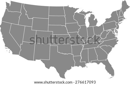 usa vector map outlines in grey