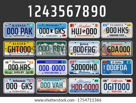 USA vehicle registration plates with state symbols. Vector American car number plates of Kansas, Minnesota or Maryland and Florida, Indiana and Tennessee plate with of Arizona and California