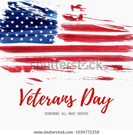 USA  Veterans day background. Vector abstract grunge brushed flag with text. Template for banner, greeting card, invitation, poster, flyer, etc. #1034772358