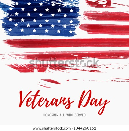 USA Veterans day background. Vector abstract grunge brushed flag with text. Template for banner, greeting card, invitation, poster, flyer, etc. #1044260152