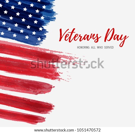 USA Veterans day background. Vector abstract grunge brushed flag with text. Template for banner, greeting card, invitation, poster, flyer, etc. #1051470572