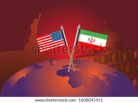USA vs Iran. Usa and Iranian flags on the background of the world map.