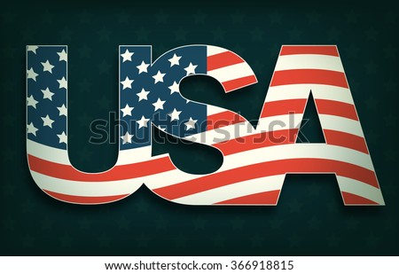 USA with Flag on Dark Background
