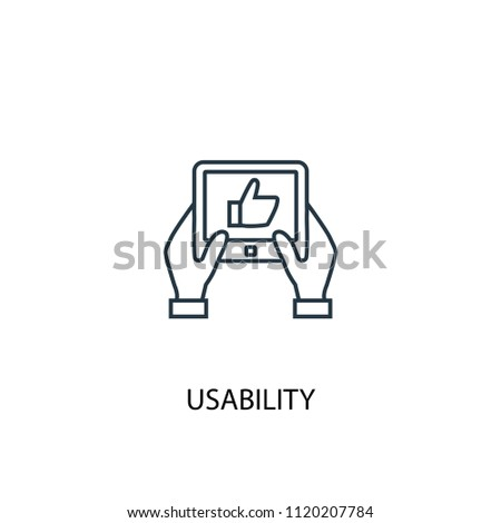 usability concept line icon. Simple element illustration. usability concept outline symbol design from online business set. Can be used for web and mobile UI/UX