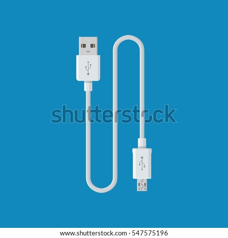 USB cable cord icon for web on blue backround. Computer peripherals connector or smartphone recharge supply
