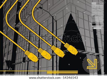 USB Cityscape. Funky design template for the digital age.