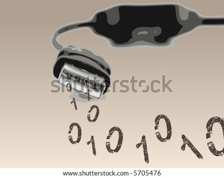 USB Computer Cable spewing out Binary Numbers (Vector Illustration)