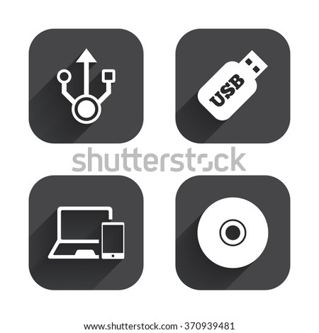 Usb flash drive icons. Notebook or Laptop pc symbols. Smartphone device. CD or DVD sign. Compact disc. Square flat buttons with long shadow.