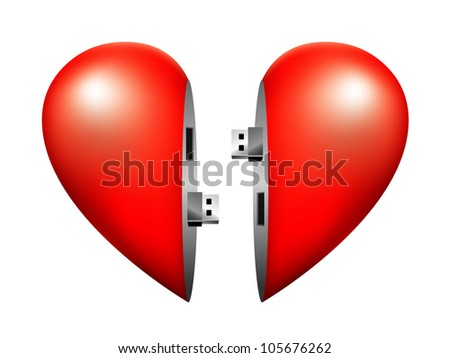 usb flash heart connection