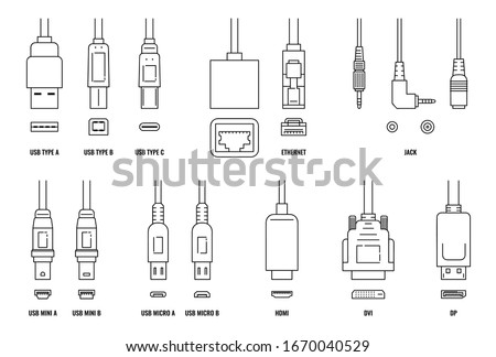 USB, HDMI, ethernet and other cable and port icon set isolated on white background. Line icons of connection plugs and sockets - flat vector illustration. Stock photo ©