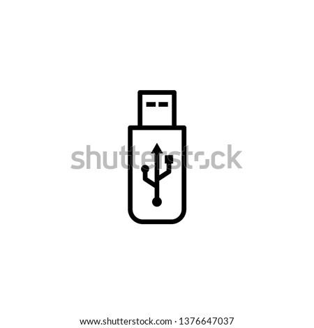 USB icon vector. Flash Drive icon symbol isolated on white background. Stock photo ©