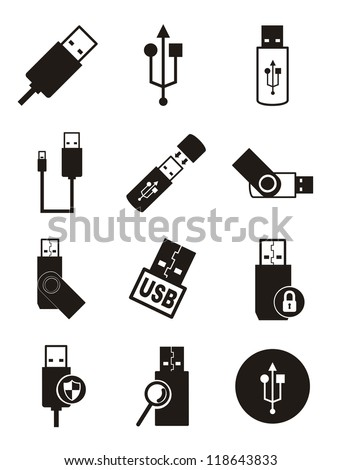 usb icons over white background. vector illustration
