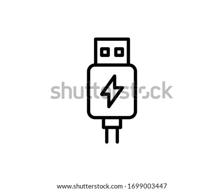 Usb line icon. Vector symbol in trendy flat style on white background. Web sing for design. Stock photo ©