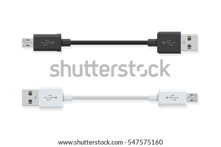 USB Micro cables isolated on white background. Connectors and sockets for PC and mobile devices. Computer peripherals connector or smartphone recharge supply