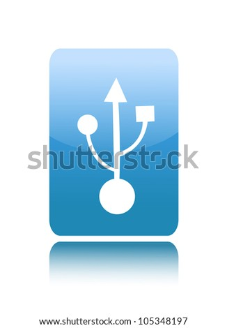 USB 2.0 or 3.0 sign icon on glossy button - stock vector