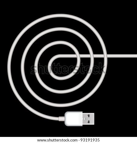 usb plug with spiral white cord on black background