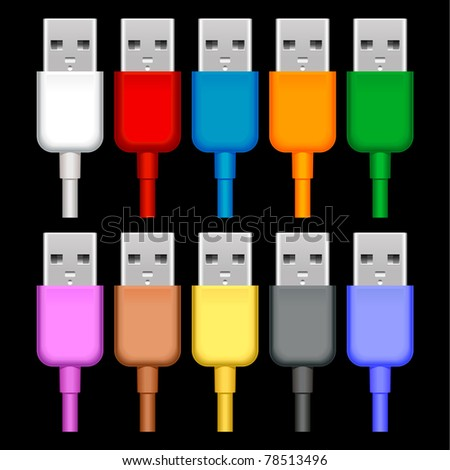 usb plugs with cord isolated on black background