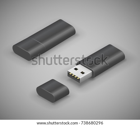 USB stick pen drive, black flash disk. Vector illustration in 3D looks isometry