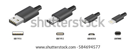 USB type A, and type C plugs, micro USB and lightning, universal computer cable connectors, vector illustration