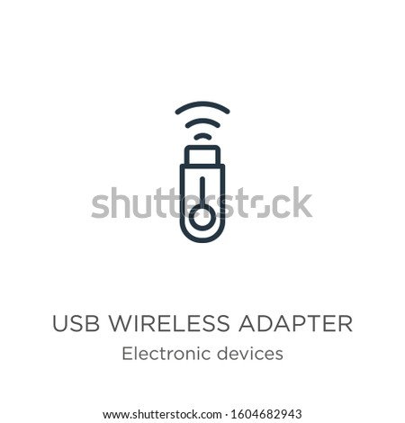 Usb wireless adapter icon. Thin linear usb wireless adapter outline icon isolated on white background from electronic devices collection. Line vector sign, symbol for web and mobile